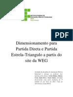 Dimensionamento Para Partida Direta e Partida Estrela
