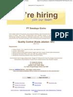 Quality Control (Kode Jabatan_ QC) - PT Swadaya Graha