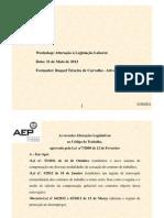 Alteração à Legislação Laboral - 2012