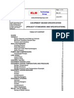 Project Standards and Specifications Equipment Design Specification Rev01