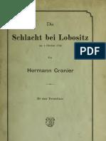 Hermann Granier, Die Schlacht Bei Lobositz Am 1. Oktober 1756 (1890)