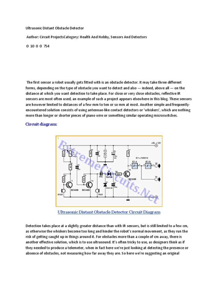 Ultrasonic Distant Obstacle Detector Amplifier Ultrasound Circuitprojectscomultrasonic Oscillations Which
