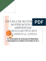 Rótulo Publicación de Asistencias I-2013
