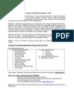 IITM Summer Fellowship 2013 Eligibility Criteria