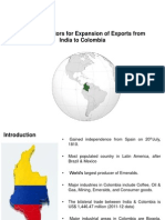 Potential Sectors for Expansion of Exports From India to Colombia