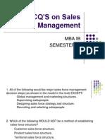 MCQ'S on Sales Management