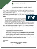 Requisitos Para Renovar Matricula Estudiantes Antiguos.