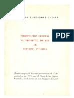 Observación general al Proyecto de Ley de Reforma Política