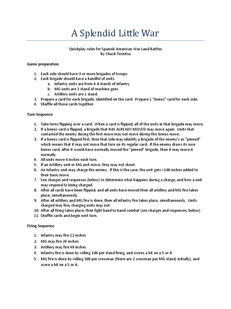 Spanish American War Wargaming Rules | Artillery | Infantry
