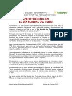 Perú presente en Día Mundial Tenis