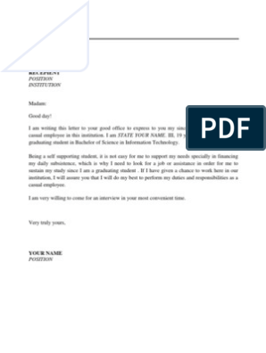 Casual Teacher Cover Letter.Application Letter For Applying As A Casual Employee