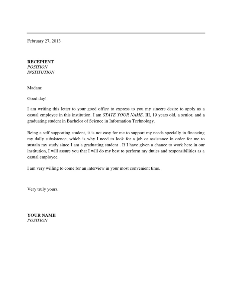 Application letter for applying as a casual employee expocarfo Image collections