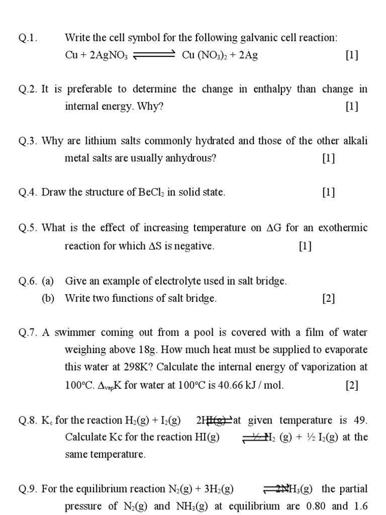 Chemistry Questions Chemical Equilibrium Chemical Reactions