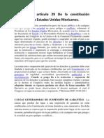 Análisis del artículo 29 De la constitución política de los Estados Unidos Mexicanos