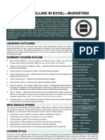 Financial Modelling in Excel - Budgeting and Forecasting Brochure