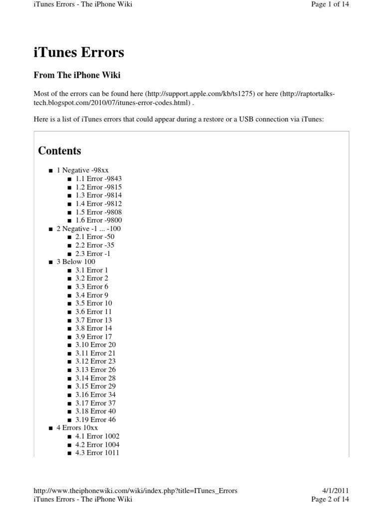 ITunes Errors | I Tunes | I Phone