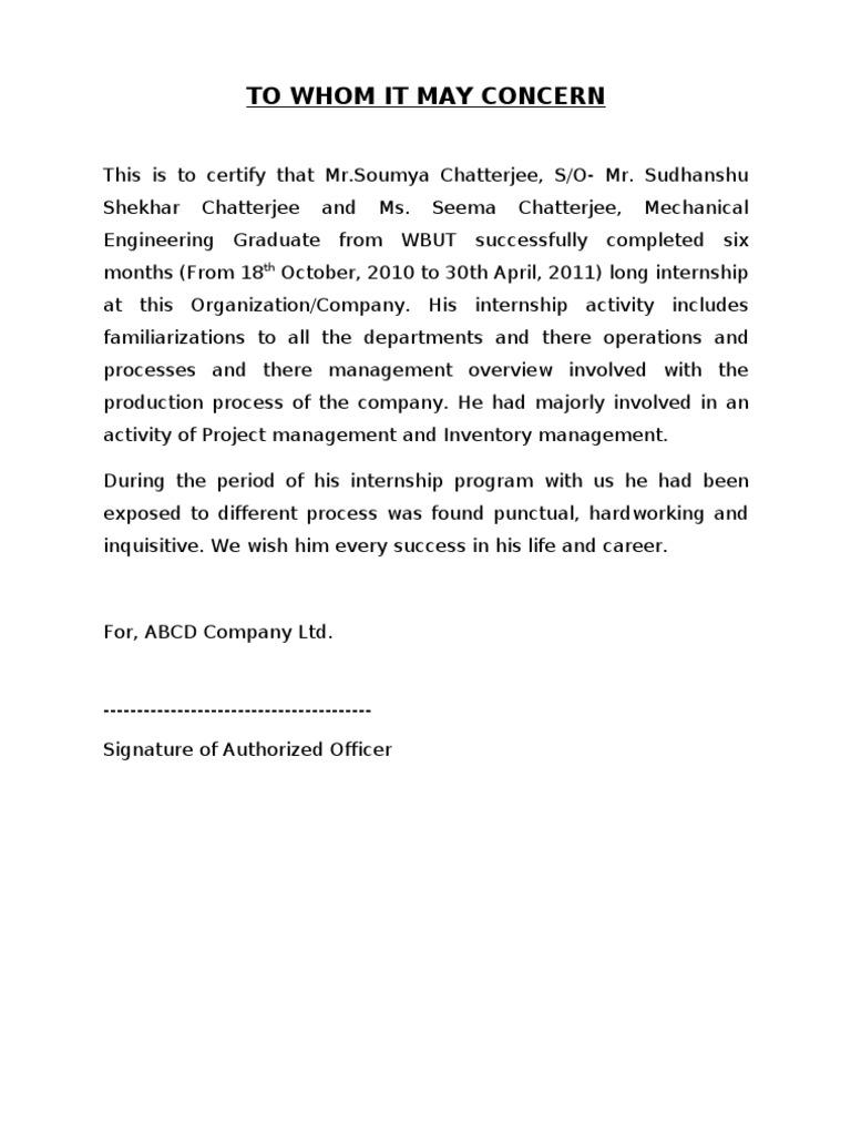 Internship Certificate Sample Doc – Sample Letter of Completion