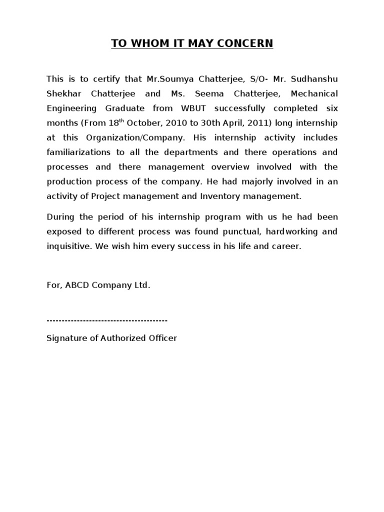Internship Certificate Sample Doc Engineering