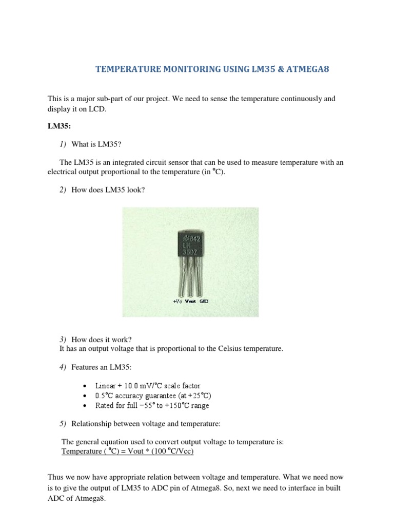 Temperature Sensing/Monitoring Using Lm35 & Atmega8 | Analog To