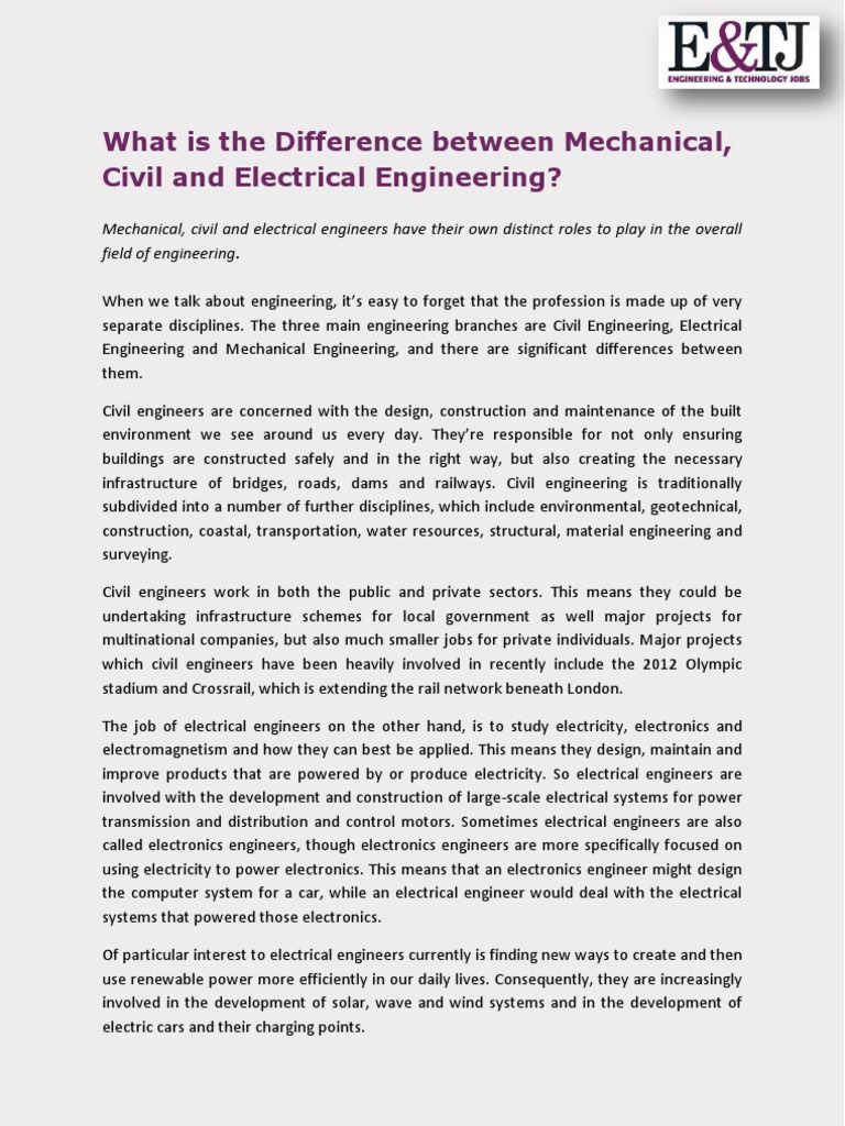 What is the Difference between Mechanical, Civil and Electrical ...