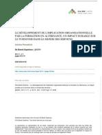 LE DÉVELOPPEMENT DE L'IMPLICATION ORGANISATIONNELLE