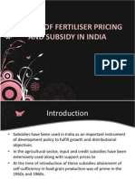 History of Fertiliser Pricing and Subsidy in India