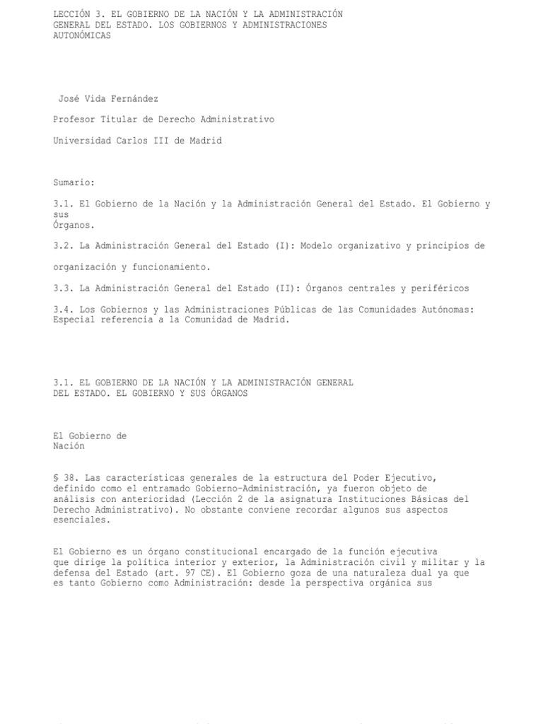 Leccion 3. El Gobierno de La Nacion y La Administracion General Del ...