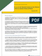 Préconisations de la-CCI de région Paris Ile-de-France sur la mise en oeuvre du Grand Paris Express - Prise de position du 24 janvier 2013
