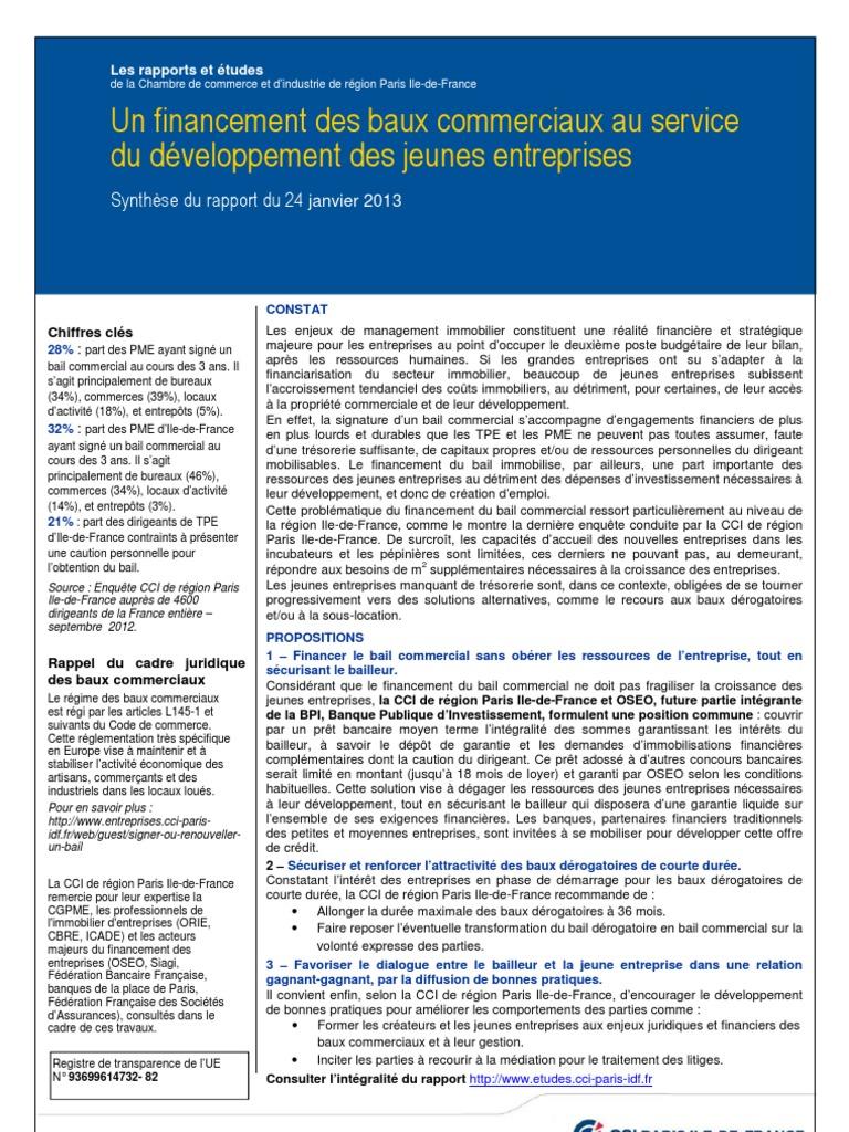 Un Financement Des Baux Commerciaux Au Service Du Developpement Des