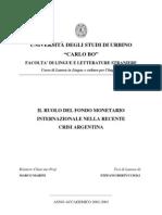 il ruolo del fmi nella recente crisi argentina