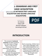 Universal Grammar and First Language Acquisition