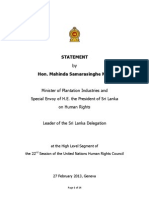 Statement made by Hon. Mahinda Samarasinghe M.P. at 22nd UNHRC session