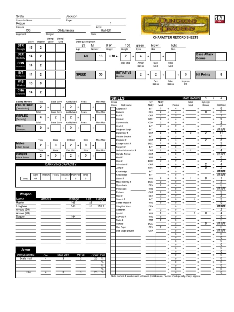 Dungeons And Dragons 3 5 Character Sheet