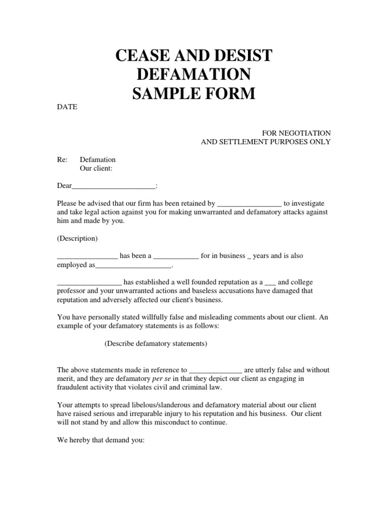 Ceast and Desist Defamation SAMPLE FORM Defamation – Settlement Agreement Template