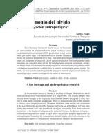 El patrimonio del olvido y la investigación antropológica