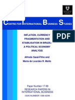 INFLATION, CURRENCY FRAGMENTATION AND STABILISATION IN BRAZIL: A POLITICAL ECONOMY ANALYSIS