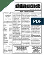Shabbat Announcements, February 28, 2009