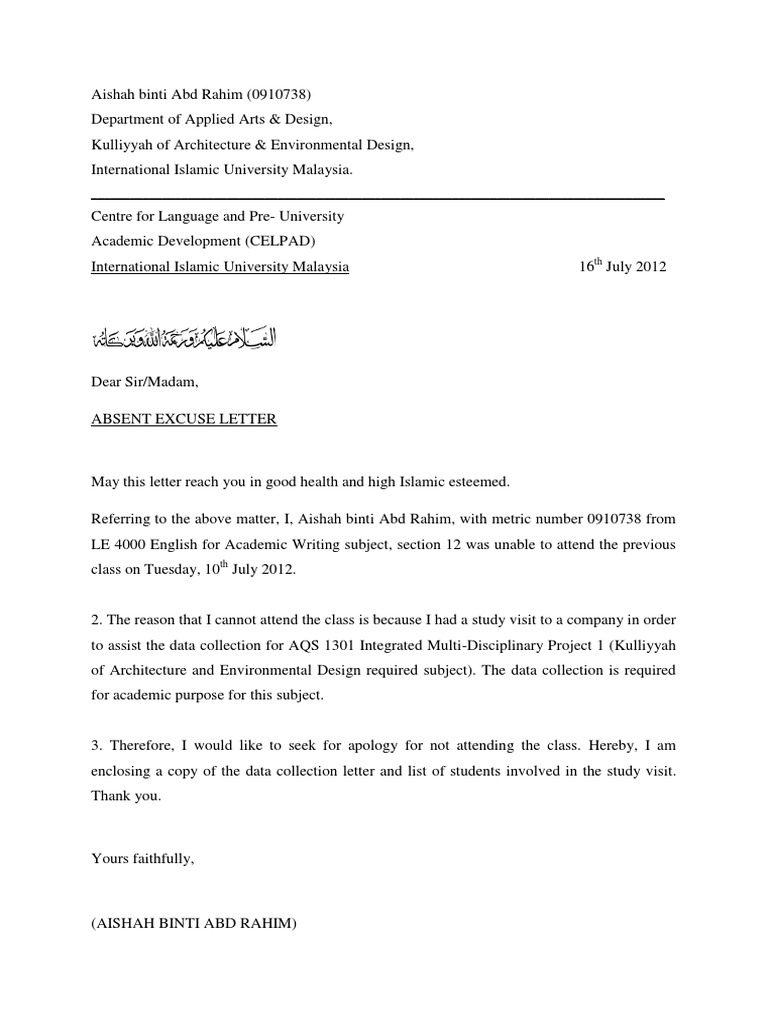Absent excuse letter for not attending class altavistaventures Choice Image