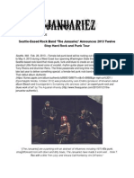 Seattle-Based Rock Band 'The Januariez' Announces 2013 Twelve Stop Hard Rock and Punk Tour