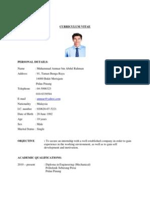 Contoh Resume Untuk Latihan Industri Further Education Languages
