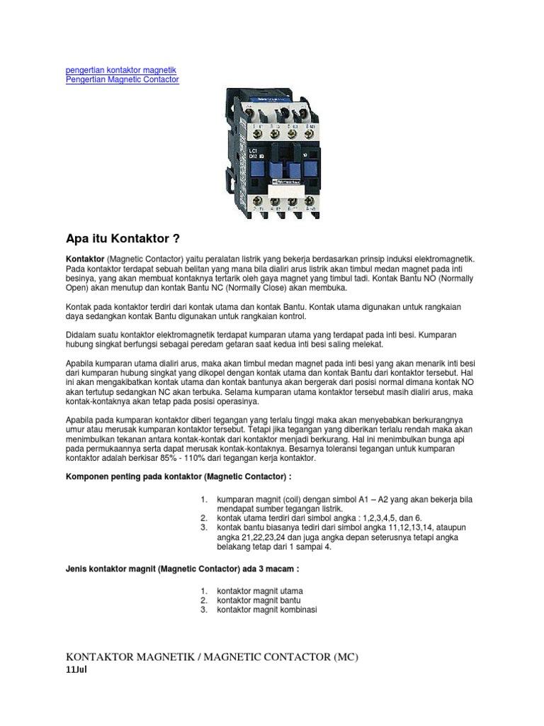 Pengertian Kontaktor Magnetik Wiring Diagram