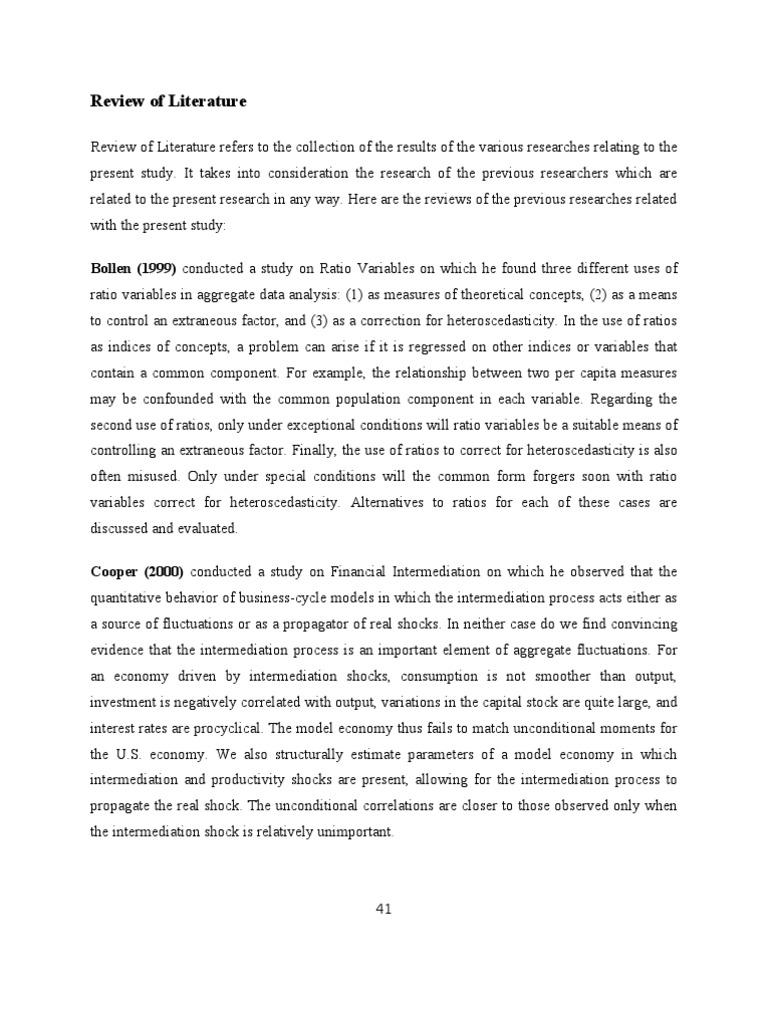 literature review on ratio analysis essays