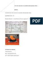 Experiment to Determine the Centre of Pressure on a Partially Submerged Plane Surface