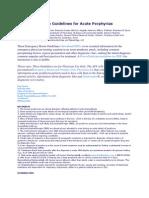 Emergency Room Guidelines for Acute Porphyrias