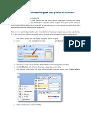 Cara Menambahkan Animasi Bergerak Pada Gambar Di Ms Power Point 2007