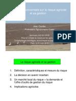 La problématique économique du risque - J Cordier (Agrocampus Ouest)