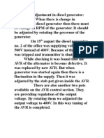 Frequency Adjustment in Diesel Generator