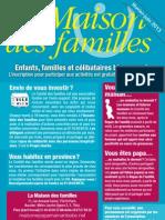 Calendrier de la Maison des familles de février à juin 2013
