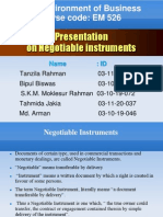 presentation on negotiable instrument