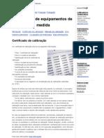 Equipment Calibration - Certificado de calibração